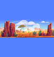 desert africa natural background with tumbleweed vector image vector image