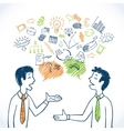 Doodle business conversation vector image vector image