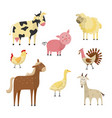 farm animals and birds flat set vector image vector image