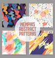 fashion abstract memphis seamless pattern set vector image vector image