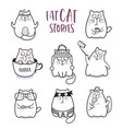 fat cats set for greeting card design vector image