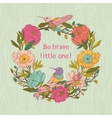 floral invitation card with birds and flowers vector image