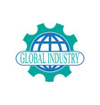 global industry logo with globe and gear vector image vector image