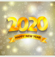 golden 2020 happy new year background vector image