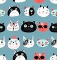 Graphic seamless pattern portraits of cats vector image