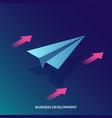 isometric business development concept paper vector image vector image