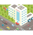 isometric hospital and ambulance building vector image vector image