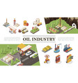 isometric oil industry elements composition vector image