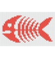 knitted pattern with fish skeleton vector image vector image