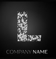 letter l logo silver dots alphabet logotype vector image