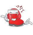 listening music santa boots are on character shelf vector image