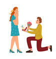 man gives flowers ring to woman proposal to marry vector image