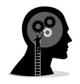 man on ladder installing gears on human head vector image