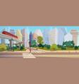 modern city crossroad cartoon landscape vector image vector image