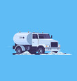 modern street sweeper truck washing asphalt with vector image
