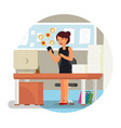 office woman getting hearts and likes approval vector image