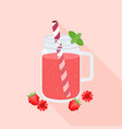 raspberry juice in mason jar glass and raspberries vector image vector image