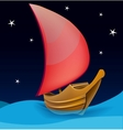 Romantic boat with red sail on a night background vector | Price: 1 Credit (USD $1)
