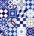 Seamless pattern vintage blue tile decoration vector image