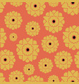 seamless pattern with retro flowers orange vector image