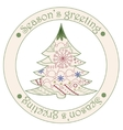 Seasons greeting sticker with christmas tree vector image vector image