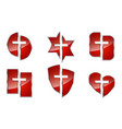 set red glossy christian symbols vector image vector image