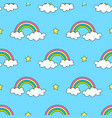 sky pattern with rainbows stars and clouds vector image vector image