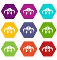 viking helmet classic icons set 9 vector image vector image