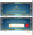 voucher gift certificate coupon blue and gold vector image vector image