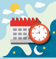 wake up alarm clock calendar planning vector image