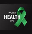 world health day icon green ribbon health vector image vector image