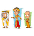 cartoon arabian egyptian and asian character set vector image