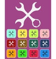 Settings Wrench Icon with color variations vector image
