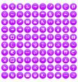 100 sea life icons set purple vector image vector image
