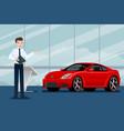 a happy businessman salesman is standing vector image vector image