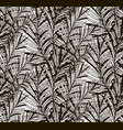 black seamless pattern with drawn fern vector image vector image