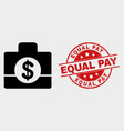 business case icon and grunge equal pay vector image vector image