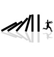 businessman running away from domino effect vector image