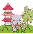 cat and food kawaii cartoons vector image vector image