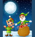 christmas old elf with cartoon elf kid present a s vector image