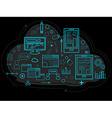 Cloud data is stored on the server information vector image