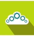 Cloud with gears icon flat style vector image