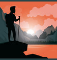 colorful sunset landscape of climber man at the vector image vector image