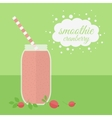 Cranberry smoothie in jar on a table vector image