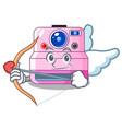 cupid cute retro instant camera on cartoon vector image