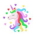 cute pink unicorn head with rainbow mane vector image vector image