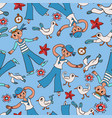 doodle seamless pattern sailor and gull vector image vector image