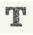 Elegant capital letter T in the style Baroque vector image vector image