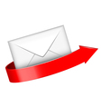 envelope and red arrow vector image vector image