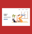 family yoga banner template with woman and child vector image vector image